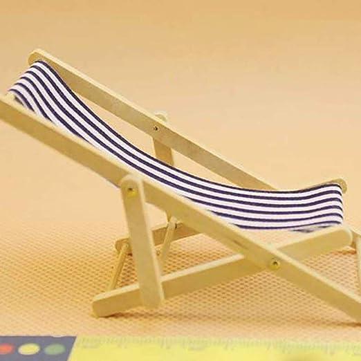 Trifycore Miniatura Beach Modelo Rayado Azul Silla Hamaca Mini Libre de Madera Plegable para Dollhouse Jardín de Accesorios, Silla de Playa Plegable Miniatura: Amazon.es: Hogar