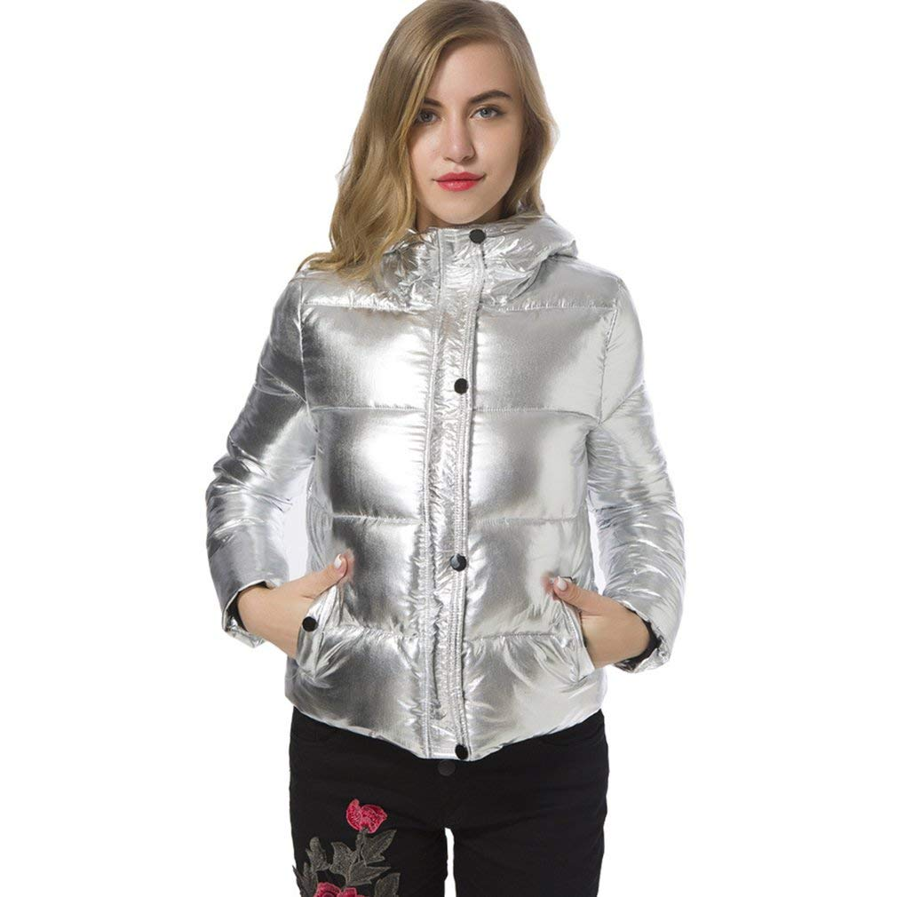 Jiobapiongxin Fashion EasyMatched Metallic color Zippered CottonPadded Outwear LongSleeved Hooded Down Jackets for Women JBPX