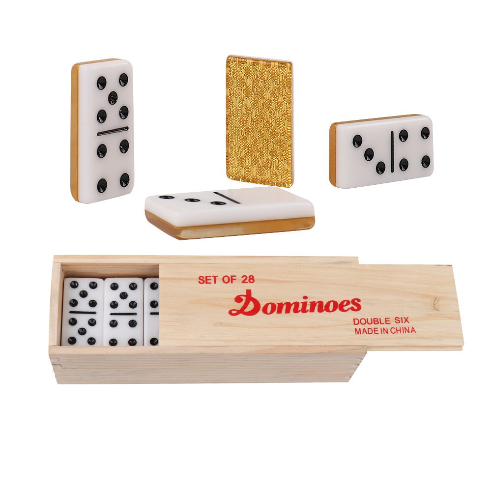 Double 6 Dominoes Set Table Games- Sets of 28 Black Dot Acrylic ...