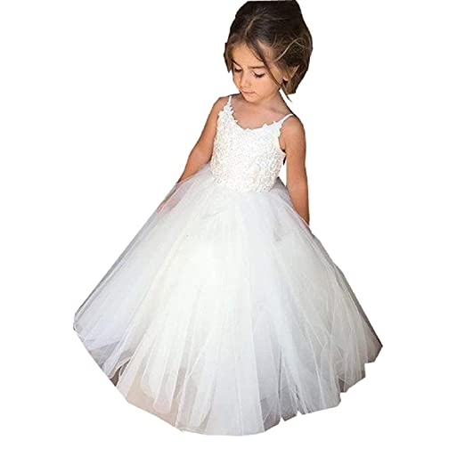 7d3634d731a Amazon.com  QYC Flower Girl Dresses Spaghetti Straps Floor Length Tulle  Lace Appliques Girls Communion Dresses 2019  Clothing