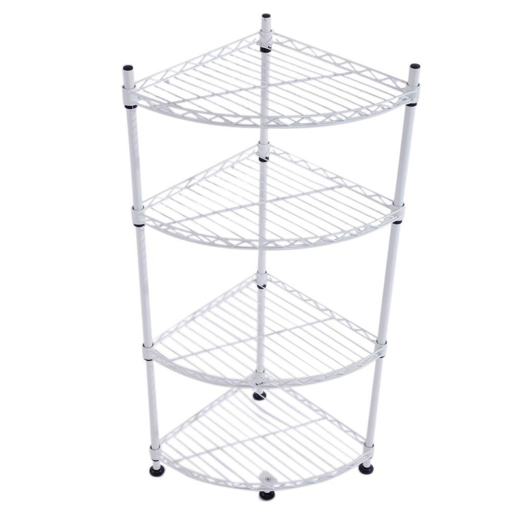 4-Layer Shelf Organizer Steel Adjustable Wire Multiuse Organizing Rack Triangle Corner Shelf White
