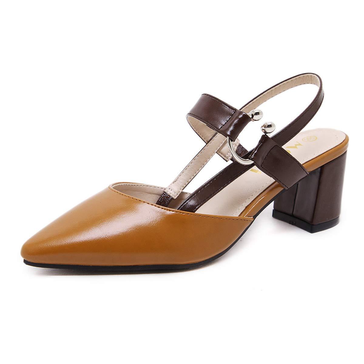 HRCxue Pumps Damenschuhe mit High Schnalle, Heels, Rückensandalen, Schnalle, High dick mit Spitzen Schuhen, Damenschuhe, 39, braun 7f04c6