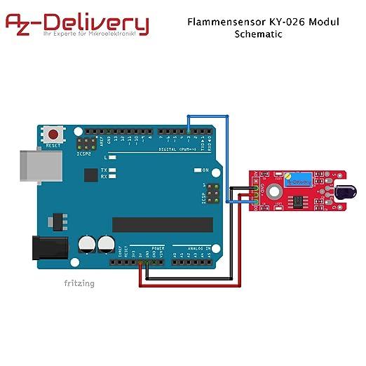 AZDelivery ⭐⭐⭐⭐⭐ Juego de 3 llama Sensor M/ódulo Detector de Fuego para Arduino