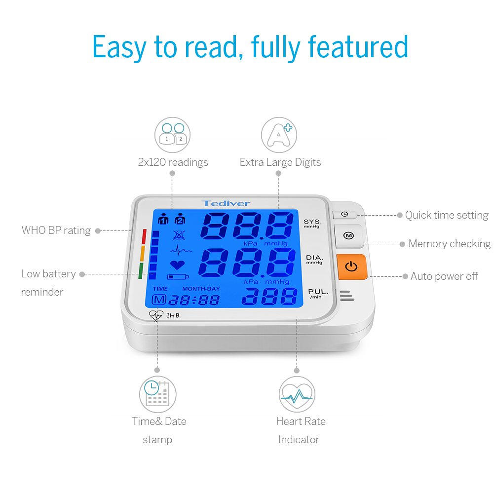 Tediver Tensišmetro brazo digital automštico,monitor de presišn arterial, cšmodas y precisas ecturas de presišn arterial ršpidas, para Adaptador UE ...