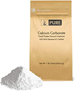 Calcium Carbonate Powder (1 lb.) by Pure Organic Ingredients, Eco-Friendly Packaging, Dietary Supplement, Antacid, Food Preservative, More
