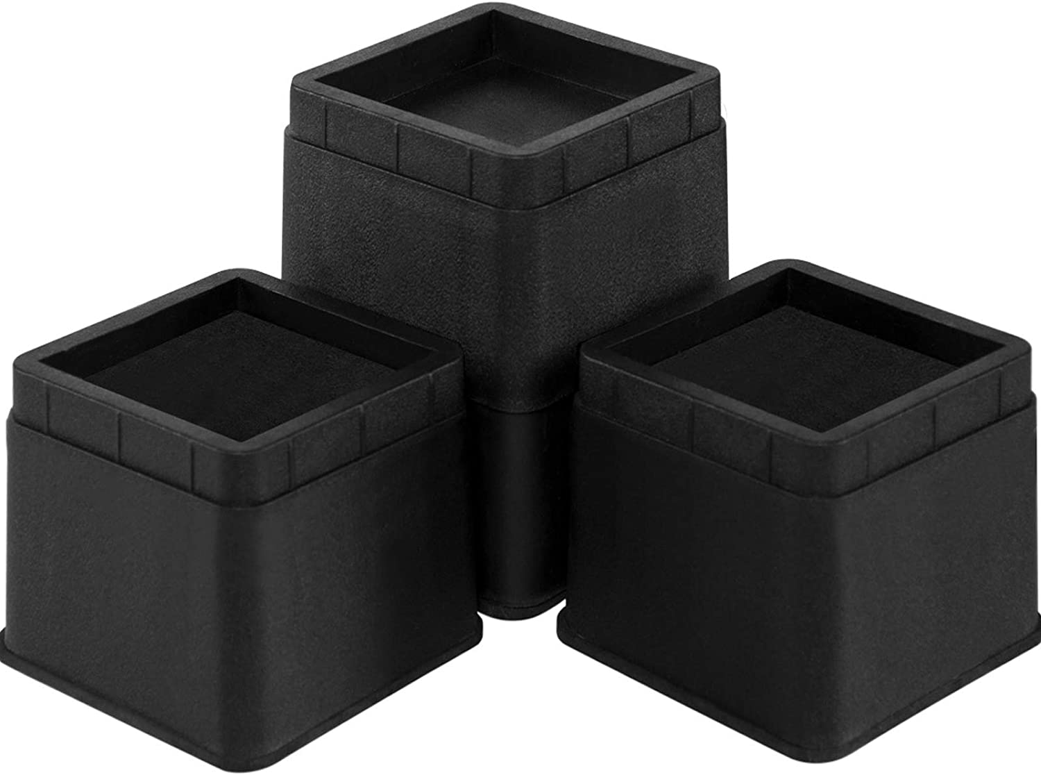 Joyclub Stackable Bed Risers Heavy Duty Furniture Risers for Sofa Table Couch Lift Height of 3 or 6 Inches (4 Pack Black)