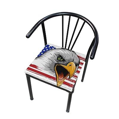 FICOO Home Patio Chair Cushion Us Flag Bald Eagle Square Cushion Non-Slip Memory Foam Outdoor Seat Cushion, 16x16 Inch: Home & Kitchen