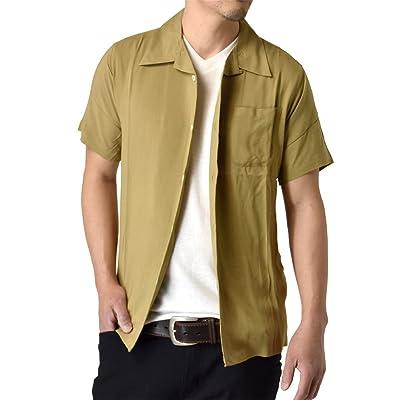 (アルージェ) ARUGE 開襟シャツ アロハシャツ 半袖 シャツ 無地 リゾート レーヨン メンズ/A4I