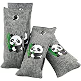 LEIDE ALL Natural Bamboo Charcoal Air Purifiers Deodorizer Bags Odor Eliminator for Home Kitchen,Shoes,Closet,Car,Pet Area (4x75g Grey)