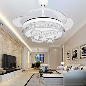 RS Lighting Modern Ceiling Fan Flower Shade Design Retractable Blades With Remote And Lights