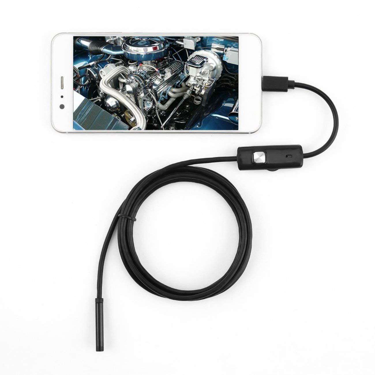 Elviray 6 LED 5,5 Millimetri Lente endoscopio Impermeabile periscopio di ispezione per Android Focus Obiettivo della Fotocamera Cavo USB Endoscopio Impermeabile