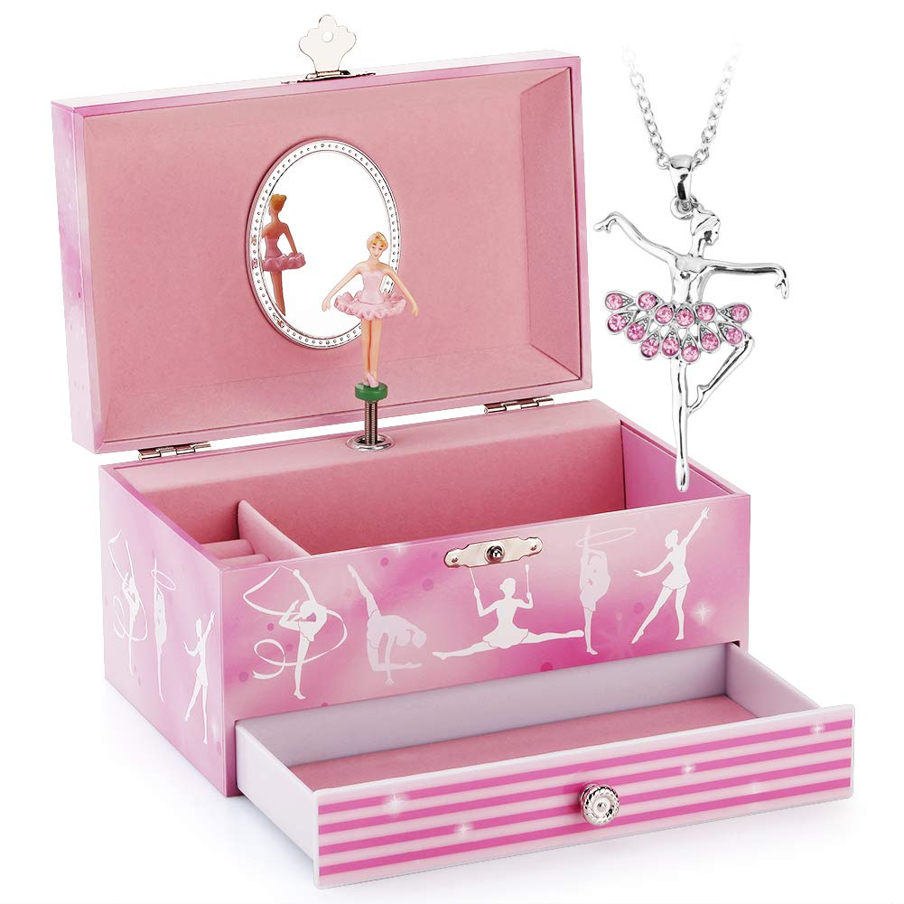 Musical Jewelry Box - Musical Storage Box with Drawer and Jewelry Set with Gymnastics Girl Theme - Swan Lake Tune Pink