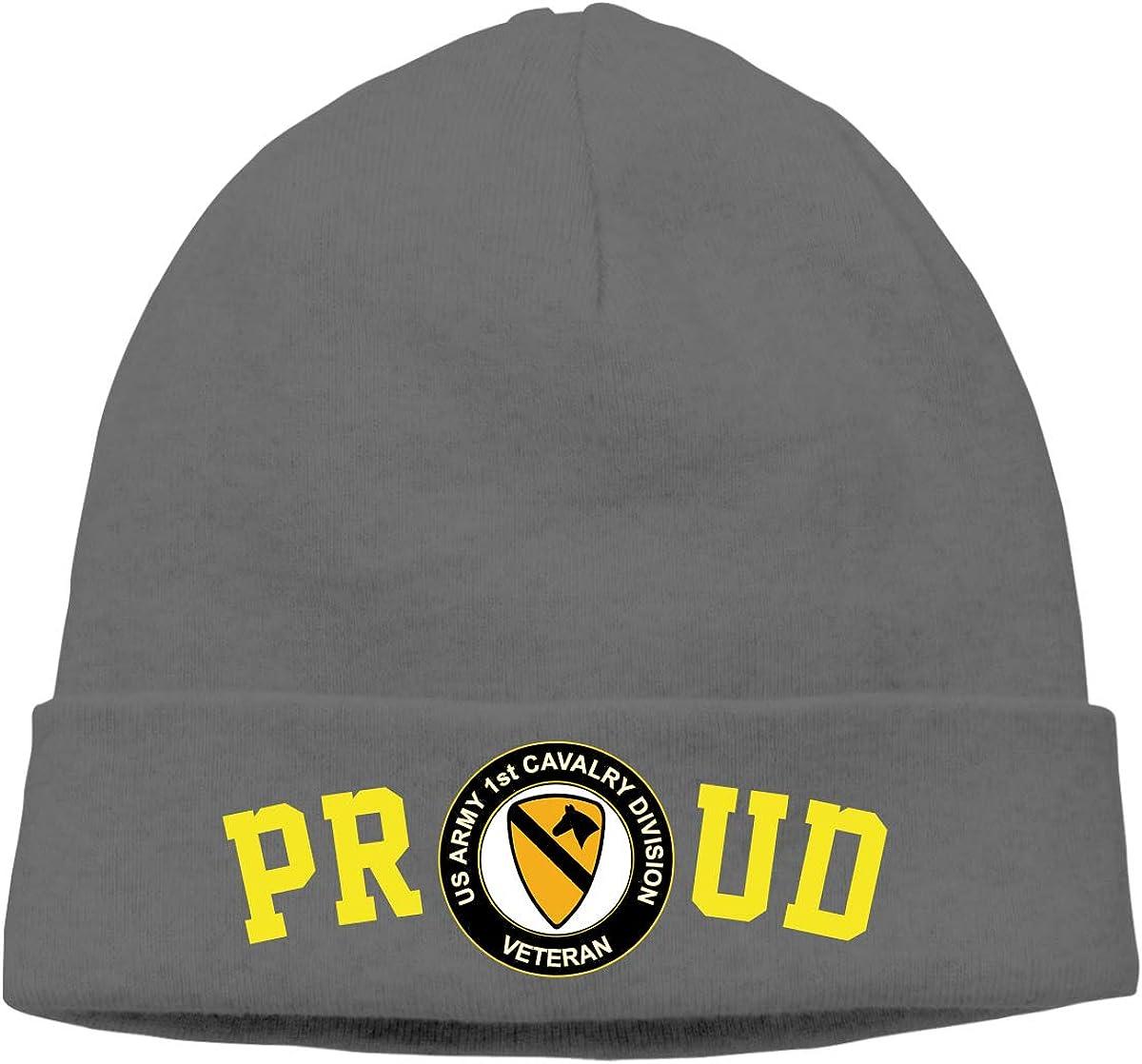 FORDSAN CP Proud US Army Veteran 1st Cavalry Division Mens Beanie Cap Skull Cap Winter Warm Knitting Hats.