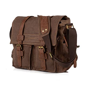 Vintage Military Men Canvas Messenger Bag Shoulder Bag: Amazon.co ...