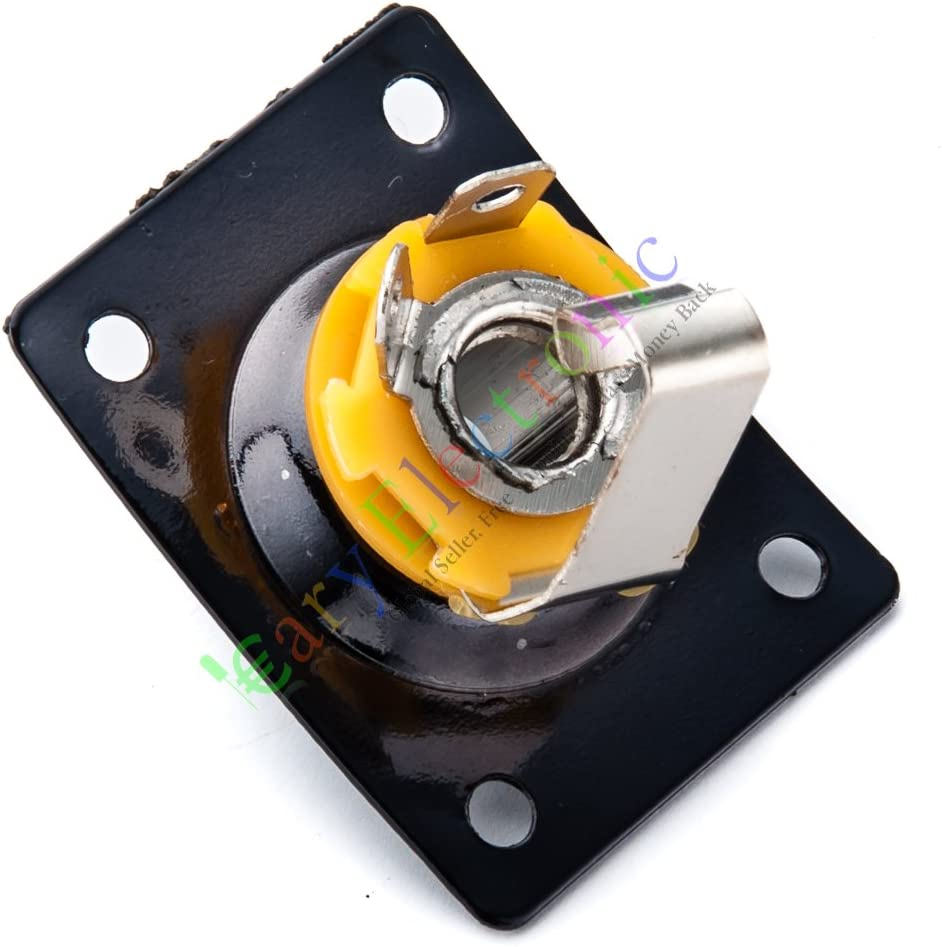 Cayyi 4pc Black Square Jack Plate Socket to fit LP Tele Style Electronic Guitar Parts