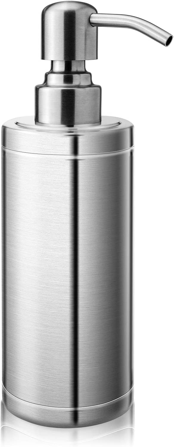 Lusuroi 304 Stainless Steel Hand Soap Dispenser with Pump, Refillable Dish Lotion Liquid Soap Dispenser for Kitchen, Bathroom, Countertop, Office, 10oz/300ml