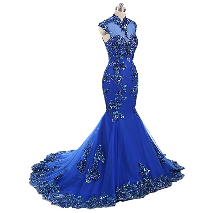 Graceprom Womens Sparkly High Neck Mermaid Evening Dresses