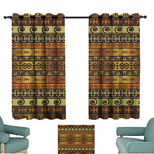 WinfreyDecor Zambia Printed Curtain Ethnic Ornamental Abstract Heritage Traditional Ceremony Ritual Image Darkening and Thermal Insulating 72