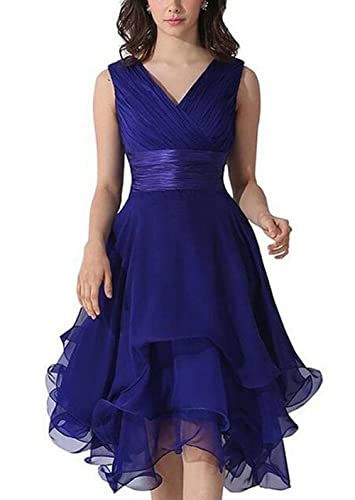 Women's Chiffon Sleeveless Ruched Short Bridesmaid Prom Dresses Gowns