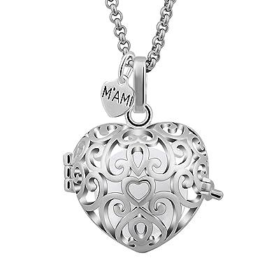 Llamador de ángeles M'AMI® CORAZON perforado con cadena de acero