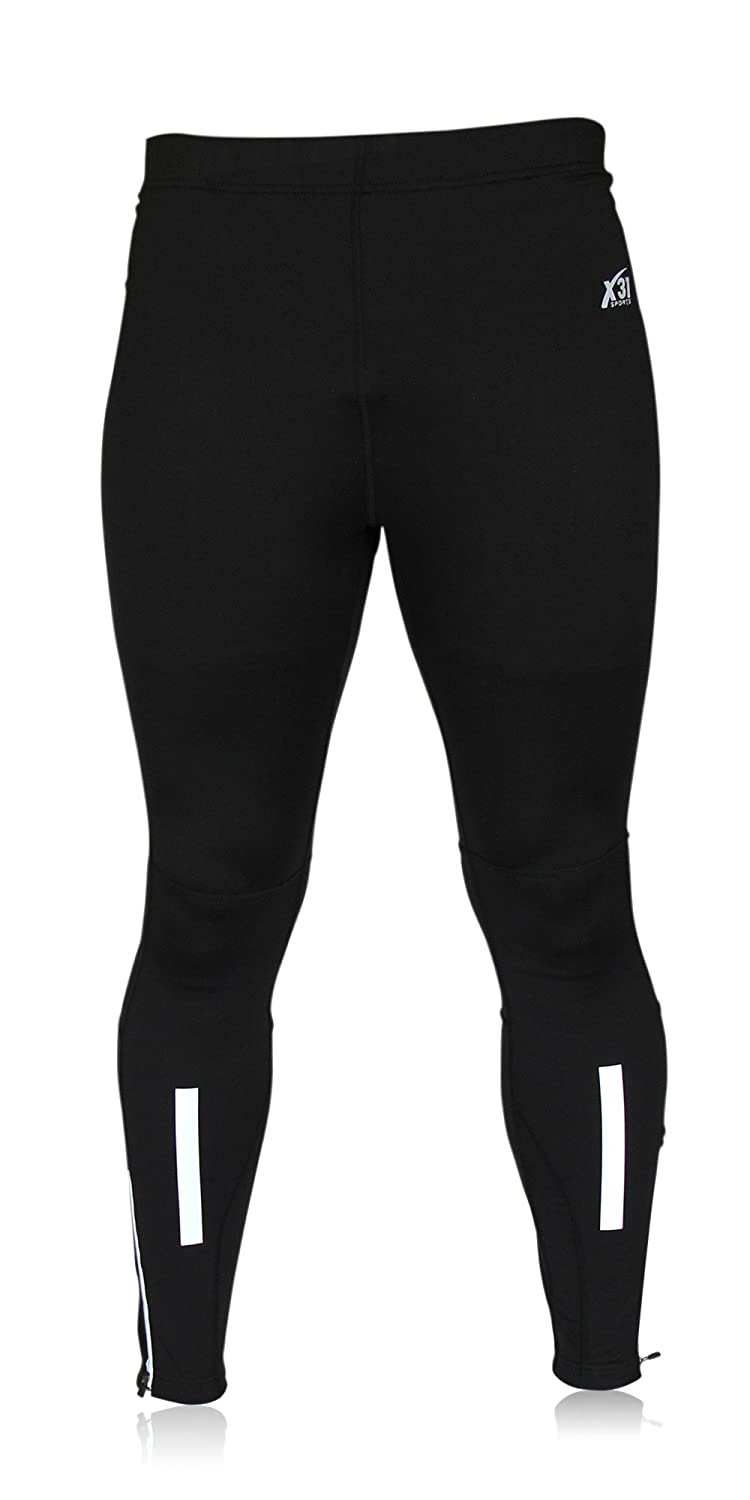 2d3c6b2419 Amazon.com : Mens Running Tights, Cycling Pants, Cold Weather Leggings with Zipper  Pocket by X31 Sports (Black, Medium) : Clothing