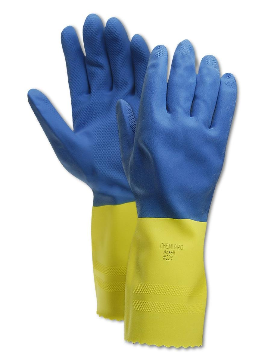 Ansell Chemi-Pro 224 Blue Unsupported Neoprene//Latex Gloves