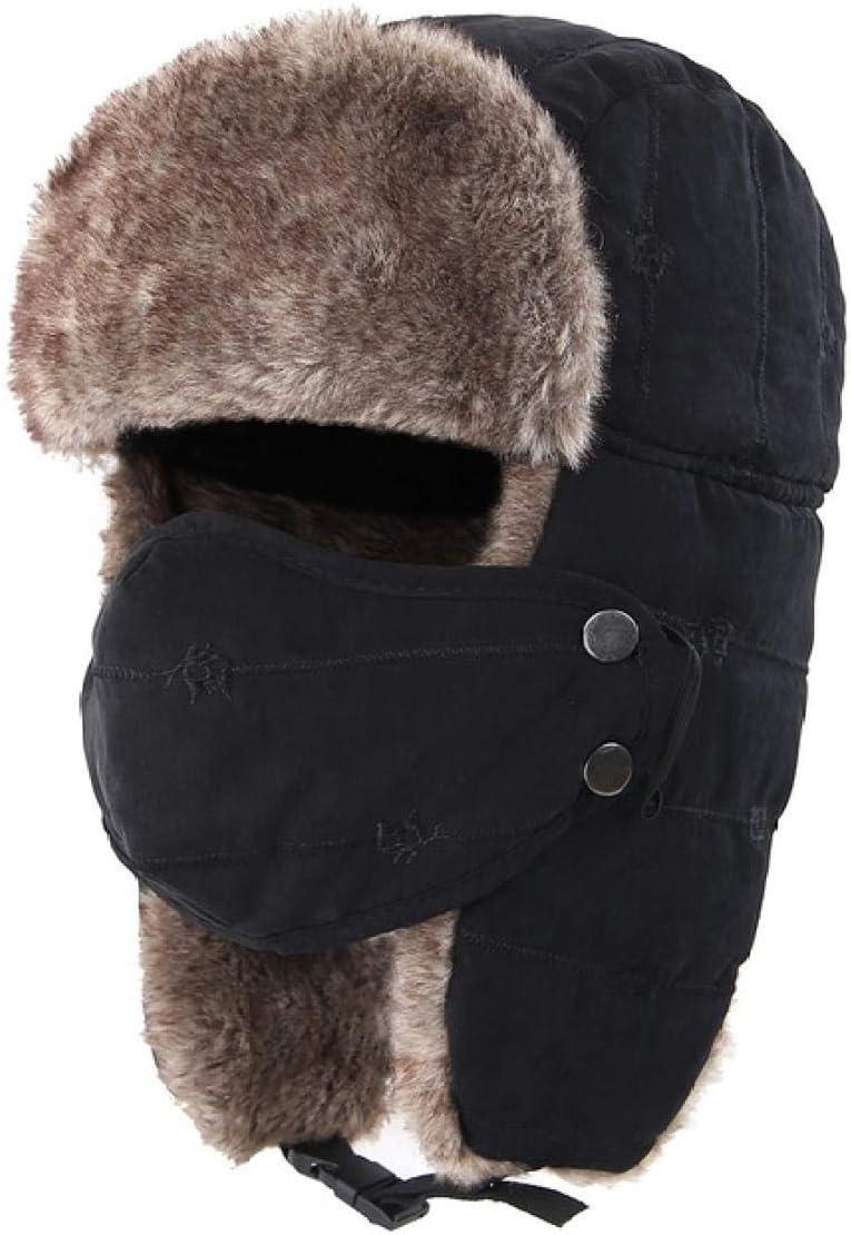 AdronQ Sombrero Grueso de Stalker Grueso para Hombres Sombrero Ruso de Invierno a Prueba de Viento extraíble con máscara Sombrero Ushanka