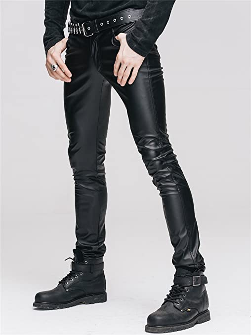 3d6b17072b6a9 Devil Fashion Men's Stretch Tight Leather Pants Gothic Black Slim Trousers  Chaparajos at Amazon Men's Clothing store: