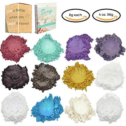 Large Glitter Mica Powder - 4 oz Angelic Seduction Soap Making Kit -12 Powder Pigments with BONUS - Soap Making Dye -Slime Supplies - Epoxy Resin Dye- Bath Bomb Colorant - Makeup Dye - Seduction Kit