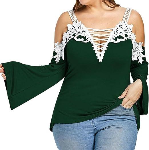 Koly Blusas y camisas de manga larga con cuello en V para mujer ...