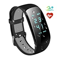 RobotsDeal Fitness Trackers IP67 Waterproof with Heart Rate Monitor, Bluetooth 4.0 Waterproof Smart Fitness Wristband Bracelet