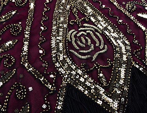Gatsby Deco Sequin Cocktail Gold Fringed Dress PrettyGuide Women Flapper Dress Burgundy 1920s Art wRqR6IT