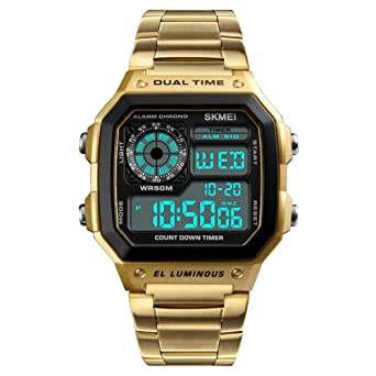 2018 Fashion Men Sports Watches Count Down Waterproof Watch Stainless Steel Electronic Digital Wristwatches (Gold