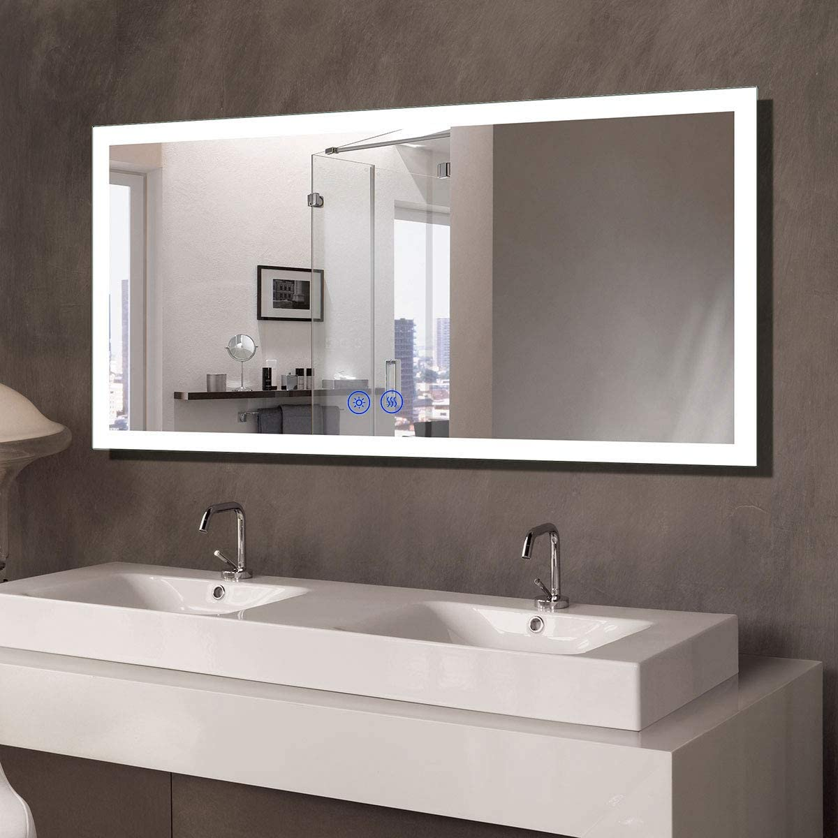 Amazon Com 55x28 In Dimmable Led Bathroom Mirror With Anti Fog Bluetooth Vertical Horizontal Mount Wall Mounted Vanity Large Mirror With Touch Button 6000k White Light Cri 90 Ip 44 Nt061 5528 Furniture Decor