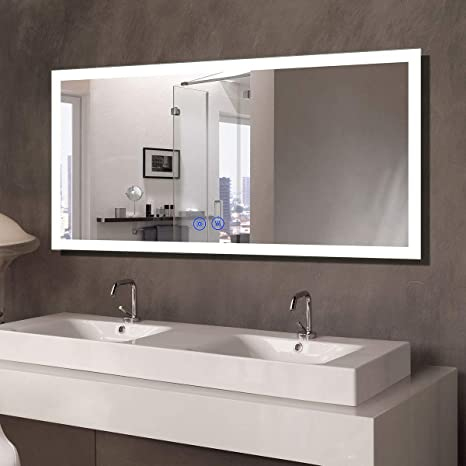 Amazon Com 55x28 In Dimmable Led Bathroom Mirror With Anti Fog Bluetooth Vertical Horizontal Mount Wall Mounted Vanity Large Mirror With Touch Button 6000k White Light Cri 90 Ip 44 Nt061 5528 Kitchen Dining