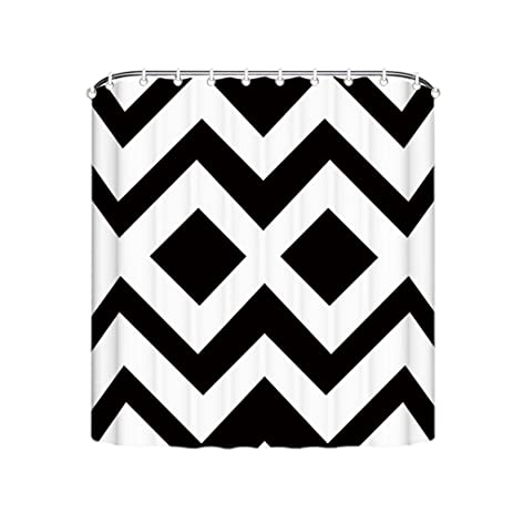 Schlitzgnff Black And White Geometric Shower Curtain With 12 Hooks Polyester Fabric Bathroom 7272inches