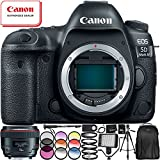 """Canon EOS 5D Mark IV DSLR Camera with EF 50mm f/1.2L USM Lens - 13PC Accessory Bundle Includes 72"""" Full-Size Tripod + Professional Backpack + 64GB SD Memory Card + 160 LED Video Light + MORE"""