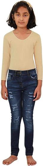 Kids Girls Skinny Jeans Denim Ripped Fashion Stretchy Dark Blue Pants Jeggings