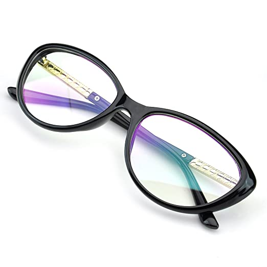 5dcbac5057 PenSee Womens Oval Cat Eye Retro Eyeglasses Frame Clear Lens Glasses (Black)