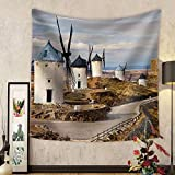 Niasjnfu Chen Custom tapestry Traditional Spain - Windmills of Don Quixote - Fabric Wall Tapestry Home Decor