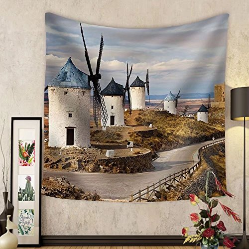 Niasjnfu Chen Custom tapestry Traditional Spain - Windmills of Don Quixote - Fabric Wall Tapestry Home Decor by Niasjnfu Chen