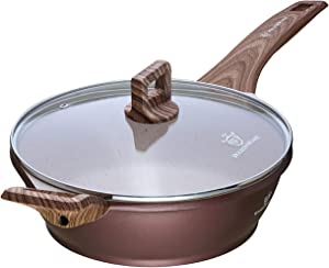 WaxonWare 9.5 Inch Non Stick Frying Pan & Skillet With Glass Lid Coated With Marbellous (A 100% PFOA and APEO Free German Non-Stick Coating)