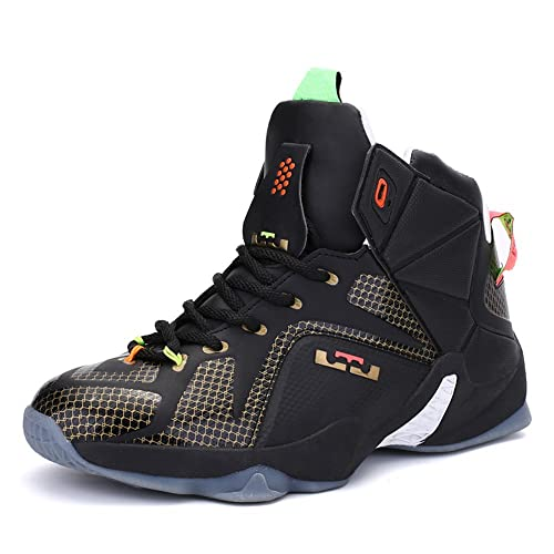 3885dbfa6572 QIFENG Basketball Shoes Men Women High Top Breathable Basketball Sneaker  Black and Red 40