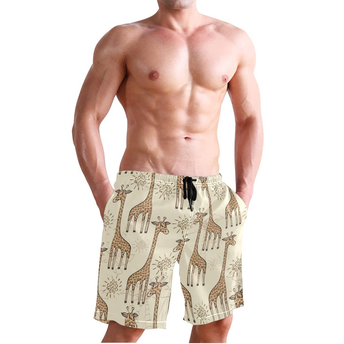 WIHVE Mens Swim Trunks Cute Giraffe Quick Dry Beach Board Short with Mesh Lining