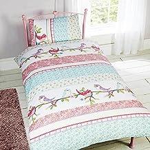 Childrens Girls Little Birdie Design Single Duvet/Bedding Set (Twin) (Multicolored)