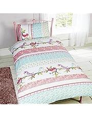 Childrens Girls Little Birdie Design Single/Twin Duvet/Bedding Set (Twin) (Multicolored)