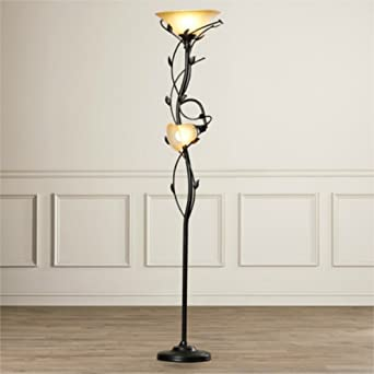 72 Inch Elegant 2 Lights Torchiere Floor Lamp With Amber Glass Shade