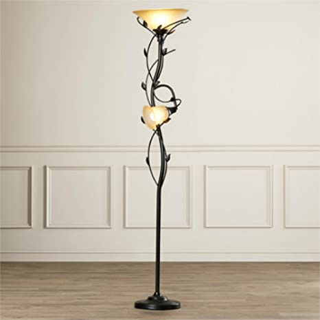 72 Inch Elegant 2 Lights Torchiere Floor Lamp With Amber Glass Shade And Leaf Pattern Stand Oil Rubbed Bronze Finish