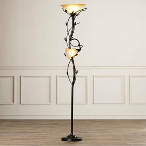 72-Inch Elegant 2 Lights Torchiere Floor Lamp with Amber Glass ...
