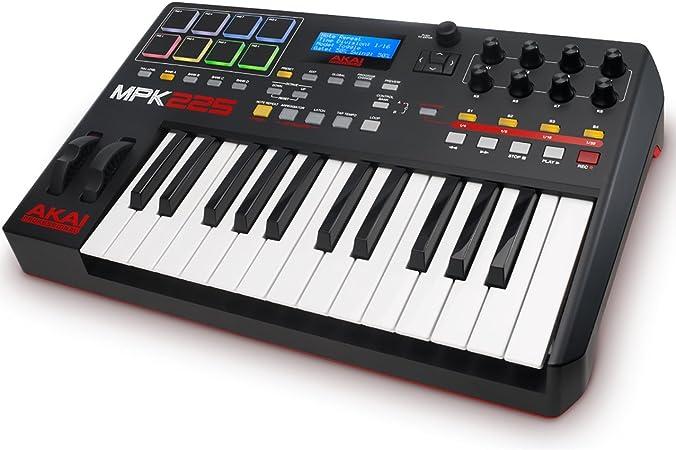 AKAI Professional MPK225 -Teclado controlador MIDI USB compacto de 25 teclas semi-contrapesadas, controles MPC asignables, 8 Pads, Q-links, botones, ...